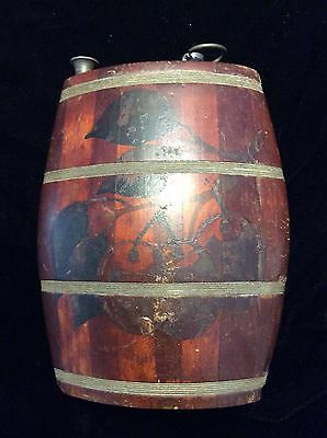 Vintage Old & Rare Wooden Primitive Lacquer Flat Flask Canteen Empty
