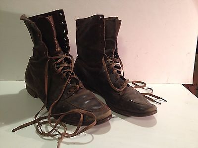 Pair Of Antique Leather Men's High Top Lace Up Shoes