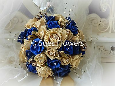 Wedding Flowers Brides Bouquet  In Gold, Royal Blue, Navy Blue