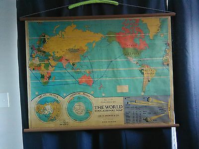 Vintage school wall map The World Educational Map No.113 Beautiful very rare