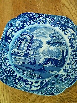 Vintage Spode blue and white Italian Pattern curved plate