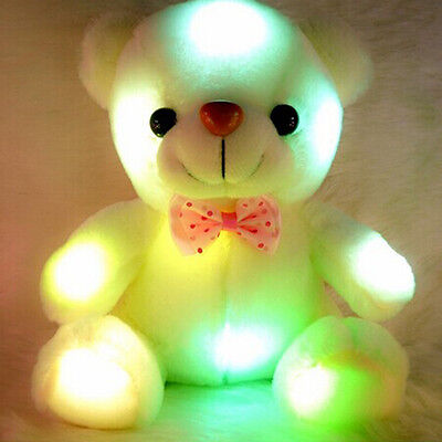 Cute Stuffed Night Light Plush Holiday Teddy Bear Xmas Gift Doll Baby LED Gifts