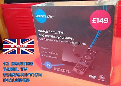 LEBARA PLAY TAMIL TV Set Top Box 12 Months Subscription HD SD Streaming WiFi NEW