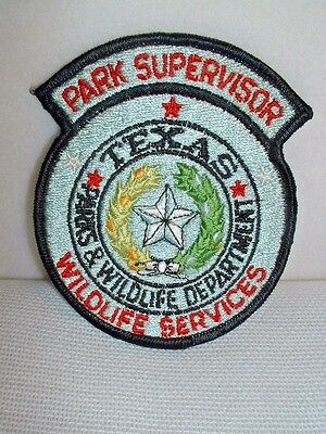 Texas Wildlife Services Park Supervisor Embroidered Patch - Unused