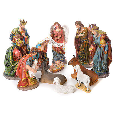 Complete nativity set in resin, 12 figurines 45cm