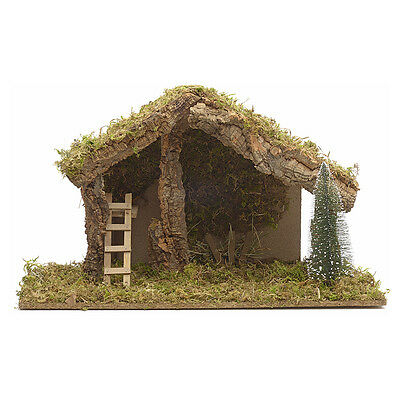 Nativity stable with hayloft and stairs