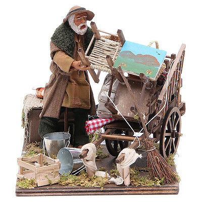 Cart of the evicted for animated Neapolitan Nativity, 14cm