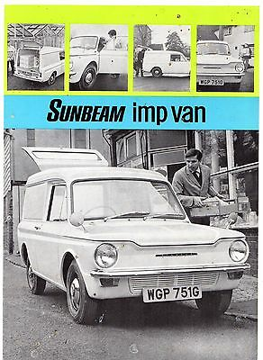 Sunbeam Imp Van 1969-70 Export Markets Foldout Sales Brochure In English