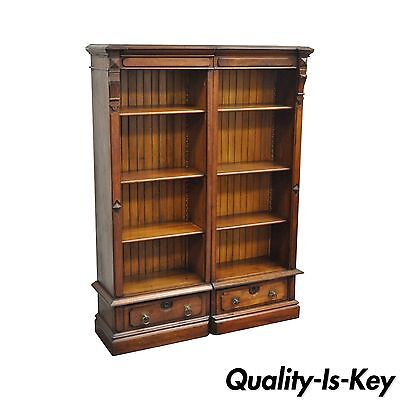 "Pair of 61"" Antique Eastlake Victorian Narrow Walnut Wooden Bookcases Bookshelf"