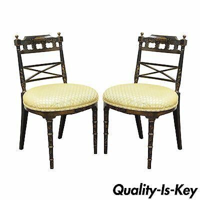 Pair of Antique Chinoiserie Oriental Japanned Black Painted Pagoda Side Chairs