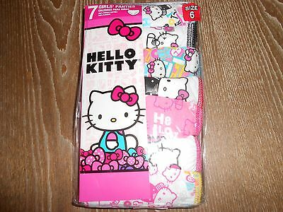 """!!! Great Deal On 7 Pairs Of Girl's """"hello Kitty"""" Panties Size 6 !!!"""