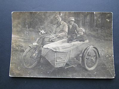 RP Postcard of Motor Cycle and Side Car. c. 1912/13. With Family, Friend and Dog