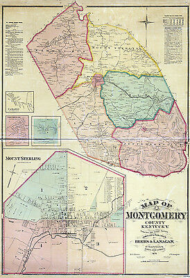 1879 Map of Montgomery County Kentucky Mount Sterling