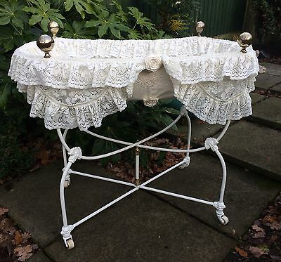 Beautiful Antique Victorian Cast Iron Baby Moses Cot - Crib Bed