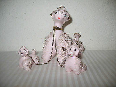 Pink Poodle Spaghetti Family Mom Puppies Chains Lefton ? Dog Porcelain Vintage