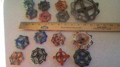 (15) Vintage Antique Valve Handles Water Faucet Knobs Steampunk Industrial Art