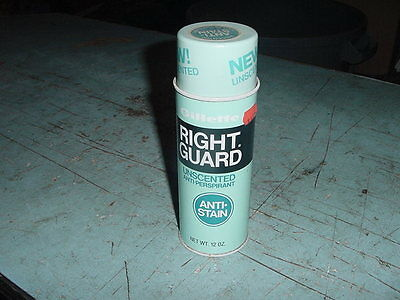 VINTAGE DEODORANT TIN CAN FULL GILLETTE RIGHT GUARD ANTI PERSPIRANT SPRAY 60s70s