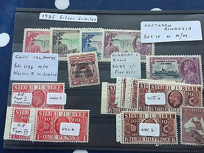 GB & commonwealth mint stamps with errors silver jubilee mostly