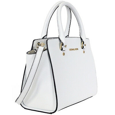 New Genuine Michael Kors Selma Top Zip Medium Leather Satchel - Optic White