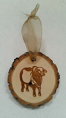 Engraved Rustic Wood with bark Brahman Cow Christmas Ornament