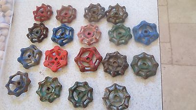(18) Vintage Antique Valve Handles Water Faucet Knobs Steampunk Industrial Art