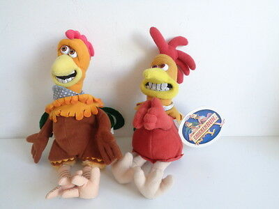 "CHICKEN RUN MOVIE - 2 x 10"" BEANIE SOFT TOYS - ONE WITH GRIPPING ARMS"