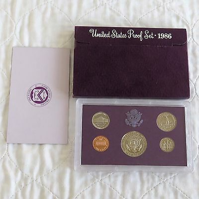 USA 1986 s 5 COIN PROOF YEAR SET - sealed/outer/coa