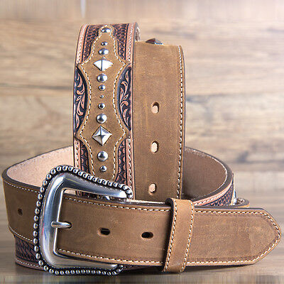 """42"""" Brighton Basketweave Tooled The Bayfield 1 1/2"""" Mens Leather Tooled Tan"""