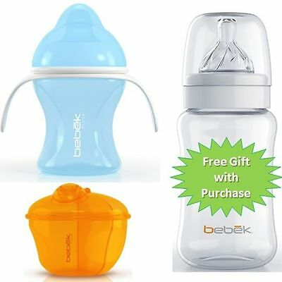 Bebek Plus Flexible Spout Bottle 5oz Handles Blue + Milk Container V8 Blue