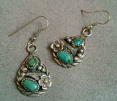 NAVAJO Sterling Silver SIGNED Turquoise Earrings NATIVE AMERICAN