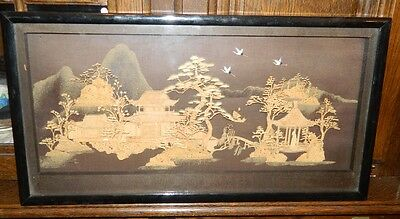 Vintage Asian Oriental Chinese Cork Art ,large 125125 frame in a roginal box.