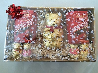Lindt milk chocolate hamper sweets Christmas gift gold gift box teddy bear