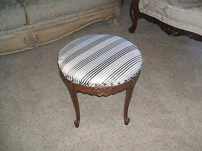 Antique Rose Carved Louis Xv French Ottoman Seat Foot Stool Bench Chair