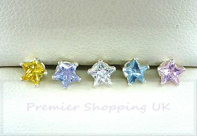 STERLING SILVER STUD EARRINGS 4mm STAR CUBIC ZIRCONIA CZ SOLID SILVER- PAIRS