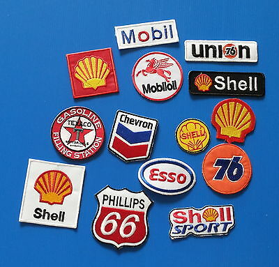 BIG 14 LOT ASST.COLLECTORS GAS OIL Embrodered Iron Or Sewn On Patches Free Ship
