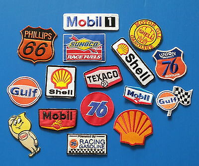 BIG 16 LOT ASST.COLLECTORS GAS OIL Embrodered Iron Or Sewn On Patches Free Ship