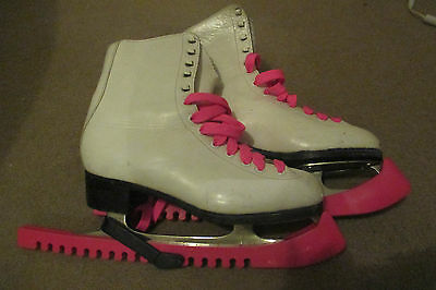 Girls Ice Figure Skates - Size EU 38 / UK 5 with pink laces and pink carry bag