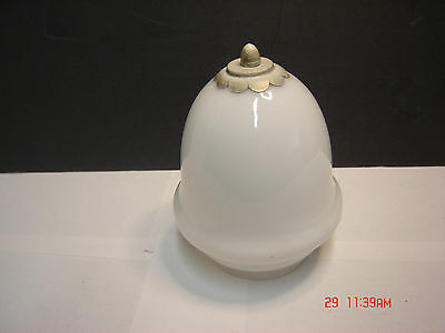 Old Art Deco Bathroom, Hall, Or Foyer  Light Cover Shade White Glass Antique