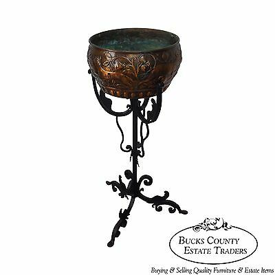 Antique Hand Wrought Iron Gothic Plant Stand w/ Copper Relief Planter