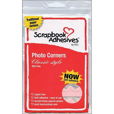 Scrapbook Adhesives 3L Pink Paper Classic Style Photo Corners-252/pk #1684 - 1Pk