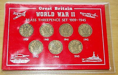 GB World War II Set Of 7 Brass Threepence Coins 1939-45 In Presentation Wallet #