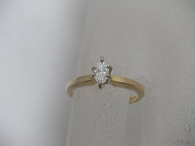 14K Yellow Gold Diamond Engagement Ring Marquise  .21 ct. Solitaire Size 4.25