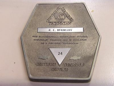Vintage Chevrolet Certified Technician  Years Of Service Wall Plaque & BOX