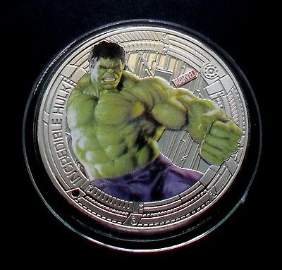 "New Zealand 2015 Silver Plate Marvel The Avengers ""incredible Hulk"" Coin"