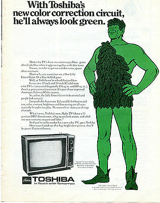 1972 Toshiba Color TV Print Ad with Jolly Green Giant