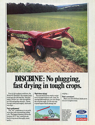 1989 Ford New Holland 411 Discbine Disc Mower Conditioner Tractor Print Ad