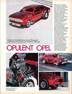 1969 Great Magazine Pic of Junior Thmpson's AA/GS Opel