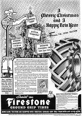 1942 Firestone Merry Christmas & Happy New Year Tractor Tire Print Ad