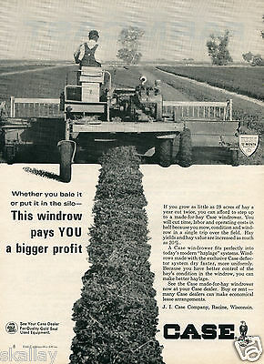 1964 Print Ad of Case Farm Tractor Made-For-Hay Windrower
