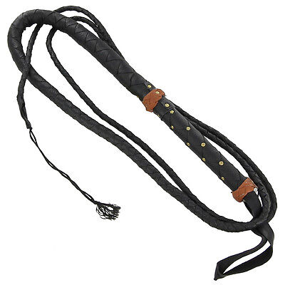 Handmade Spanish Main Leather Equestrian Cattleman Rancher Bull Whip